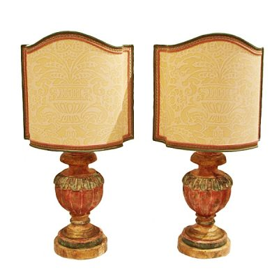 Pair Italian Painted Carved Wood Urn Lamps