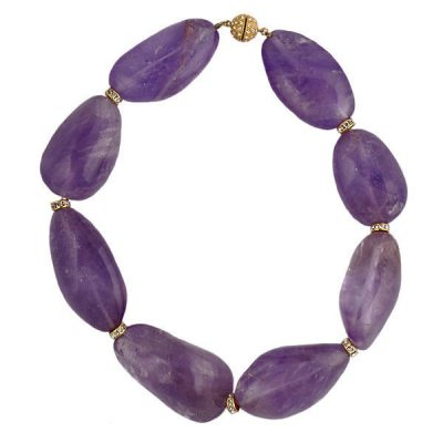 Chunky Natural Amethyst & Pave Rhinestone Necklace