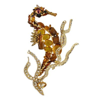 """David Mandel's """"The Show Must Go On"""" Large Seahorse Pin With Swarovski Crystals & Rhinestones"""
