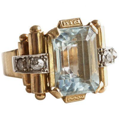 Aquamarine Gold Ring