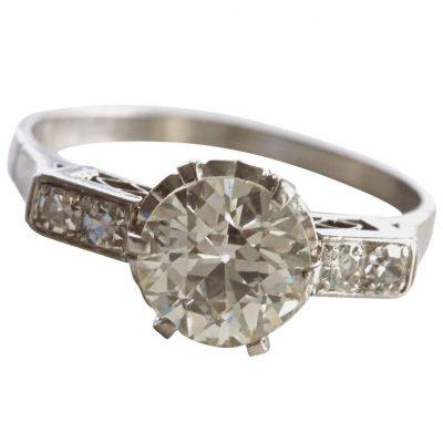 Old European Diamond Platinum Engagement Ring