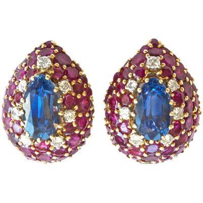 Natural Sapphire Ruby Diamond Earrings