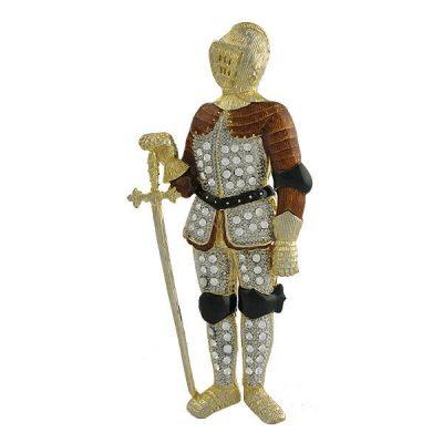 Large Rhinestone and Enamel Knight with Sword Brooch
