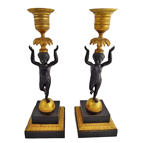 Pair Of Neoclassical Style Figural Candlesticks