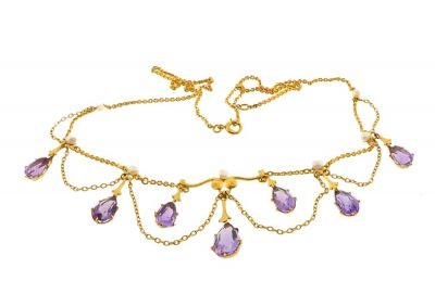 Art Nouveau Krementz 14K Amethyst Pearl Festoon Necklace