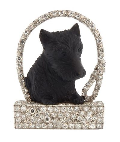 Art Deco Platinum Diamond Carved Hardstone Scottie Brooch