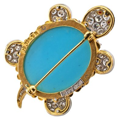 Hammerman Brothers Diamond_Ruby and Turquoise TurtleBrooch.