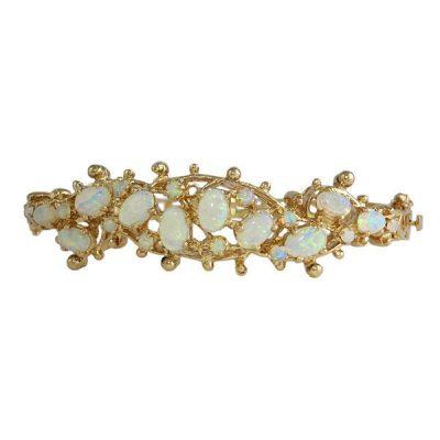 Vintage 14K Gold and Opal Bangle Bracelet