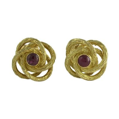 18K Gold Two Sided Cabochon Ruby Love Knot Cufflinks