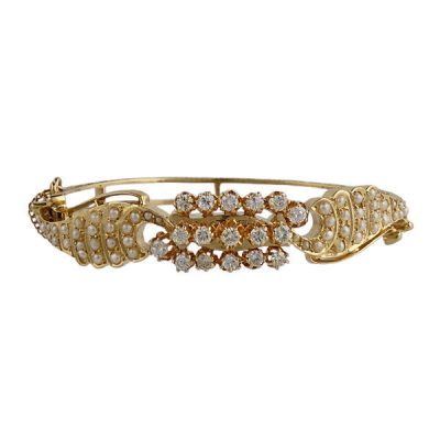 Vintage 14K Gold Diamond Seed Pearl Bangle Bracelet