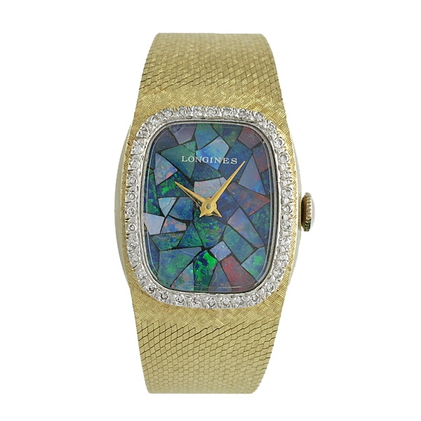 Longines 14K Gold Ladies' Watch Opal Face With Diamonds