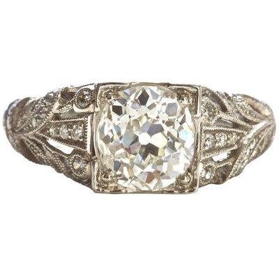 Art Deco Old European Diamond Engagement Ring