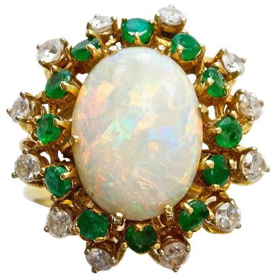 Opal Emerald and Diamond Ring