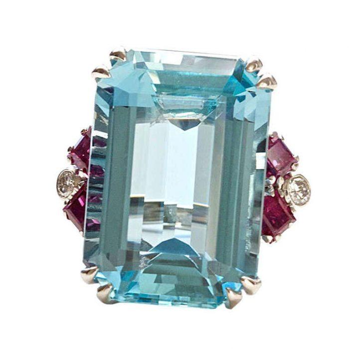Aquamarine Ruby Diamond Ring