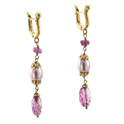 Unique Estate Pink Tourmaline and Cultured Pearl Pendent Earrings