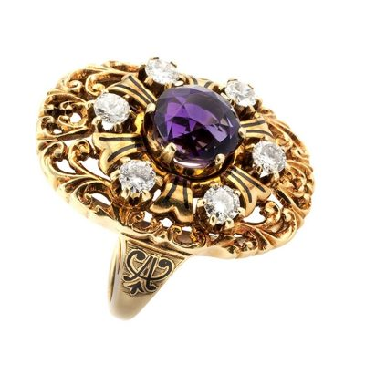 Unique Gold_Amethyst and Diamond Ring_Circa 1930