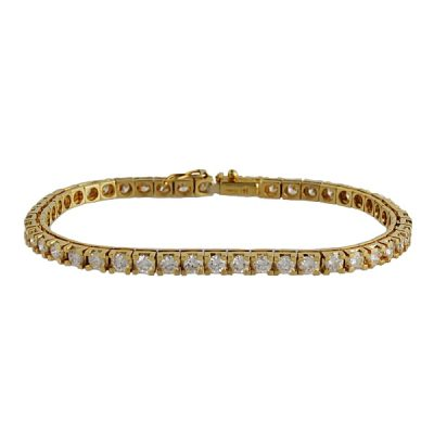 14K Yellow Gold Diamond Tennis Line Bracelet – 5 Carats