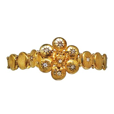 Victorian 14K Gold Articulated Link Lion Head Bracelet with Diamonds