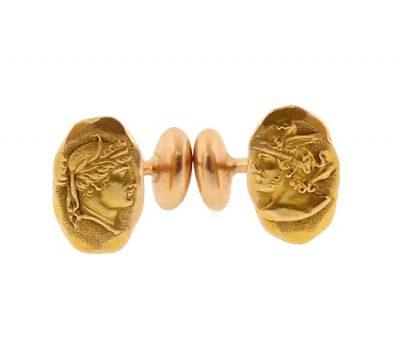 Victorian 14K Gold Shiebler Style Medallian Cufflinks