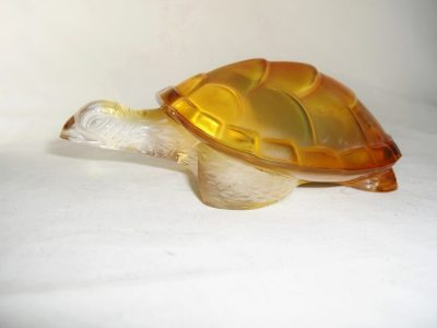 Lalique Turtle Amber Clear Glass