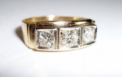 Three Diamond 14K Man's or Woman's Band Ring Vintage