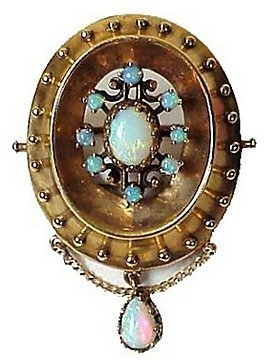 Victorian Style 14K Gold Opal Pin Pendant with Drop