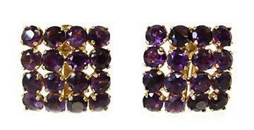 Vintage 18K Gold Amethyst Pierced Clip Back Earrings
