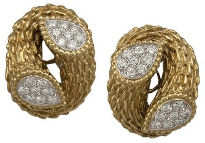 BOUCHERON 18K Y/G AND PLATINUM DIAMOND EARRINGS