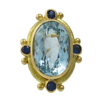 Elizabeth Locke 19K Gold Aquamarine & Sapphire Ring