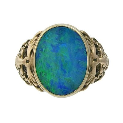 Victorian 12K Gold Black Opal Men's Ring