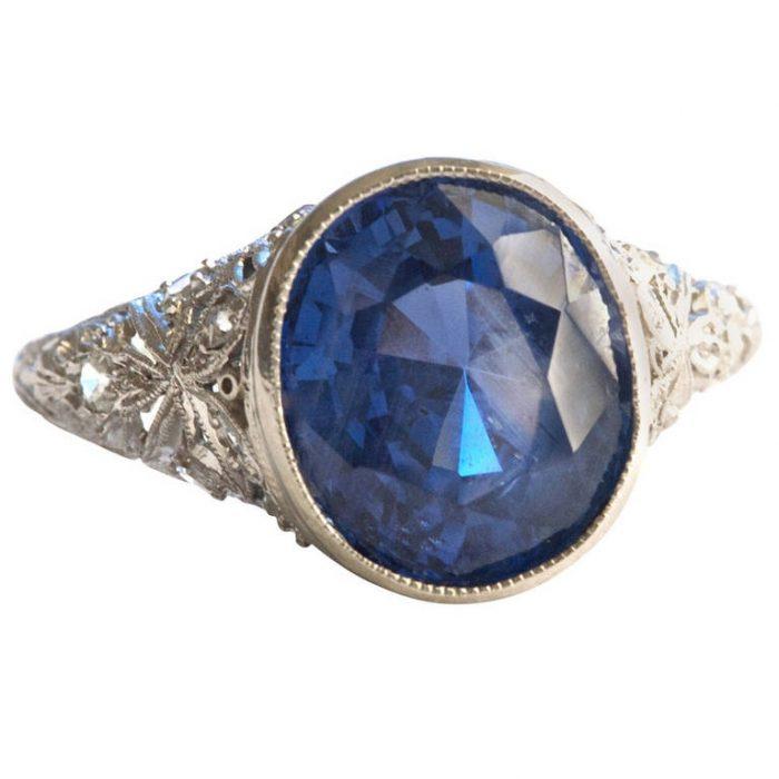 1920s Sapphire Platinum Engagement Ring