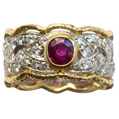 Buccellati Ruby Diamond Gold Ring