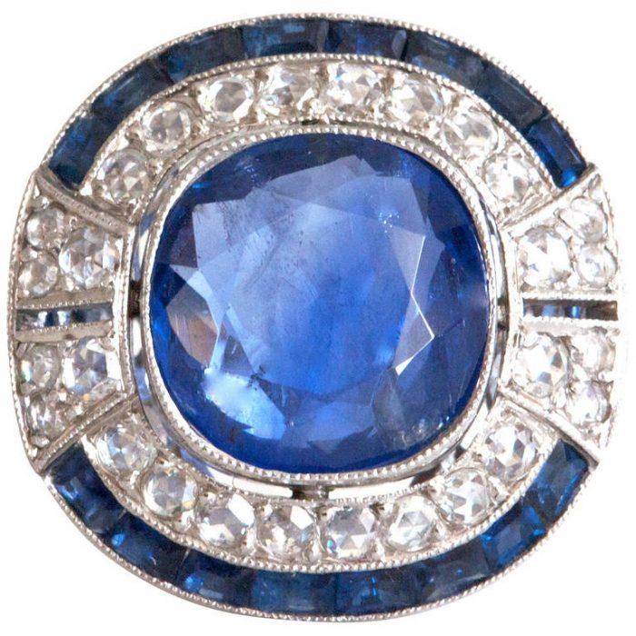 Burma No Heat 5 Carat Sapphire Diamond Ring