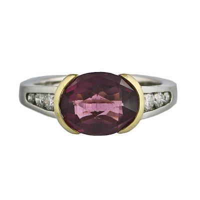 Platinum 18K Gold Pink & Green Tourmaline Diamond Ring
