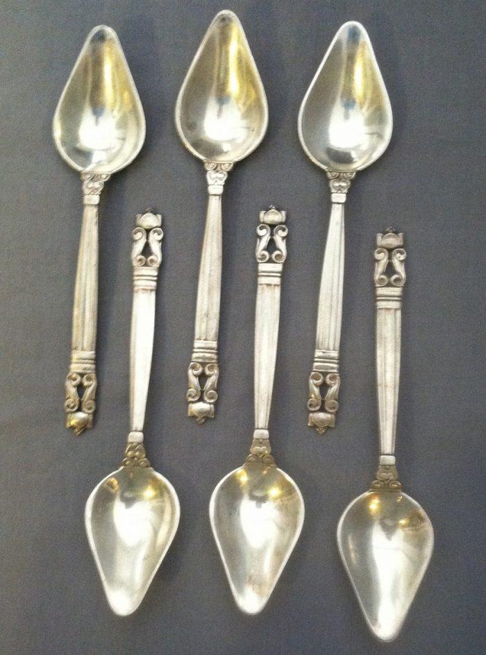 Sterling Georg Jensen Acorn Fruit Spoons