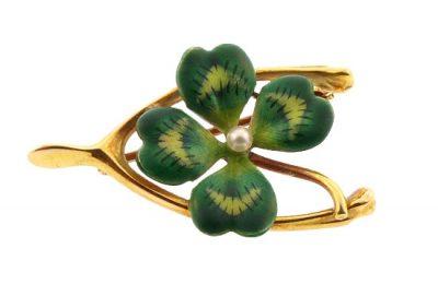Krementz Gold Enamel 4-Leaf Clover Wishbone Pin