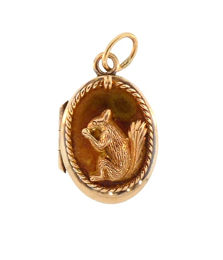 Victorian 14K Gold Squirrel Locket