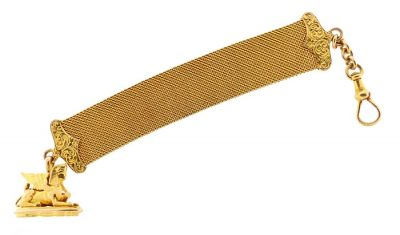 Victorian 14K Gold Sphinx Mesh Watch Chain & Fob