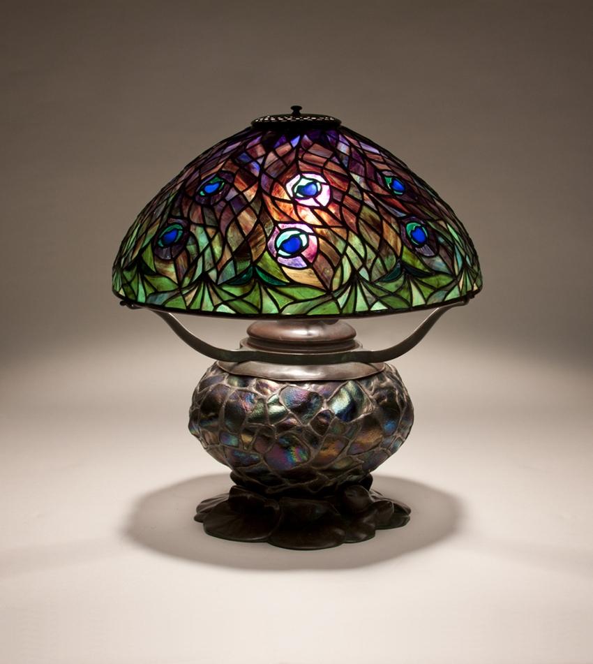 Early Tiffany Studios Peacock Table Lamp