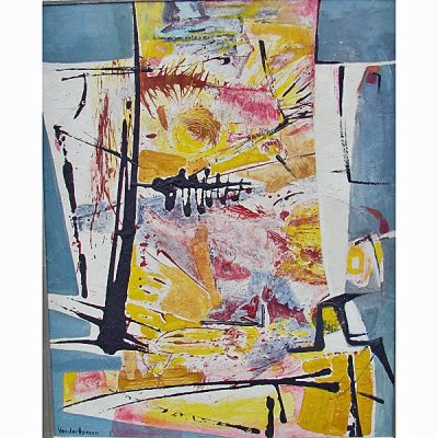 """Mary Van Der Hoeven """" Abstract """" Acrylic On Board"""