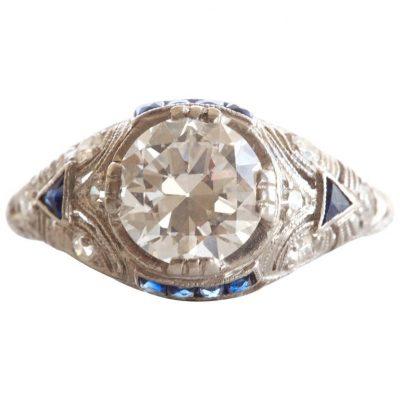 1920s Diamond Platinum Engagement Ring