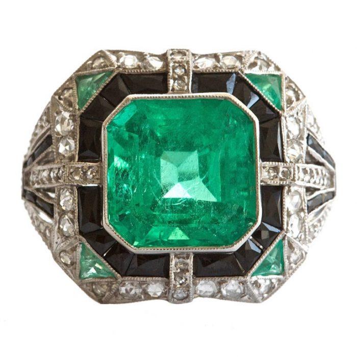 Columbian Six Carat Emerald Platinum Ring