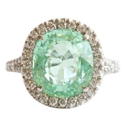 Rare Natural GIA 6.02 Carat Paraiba Diamond Platinum Ring