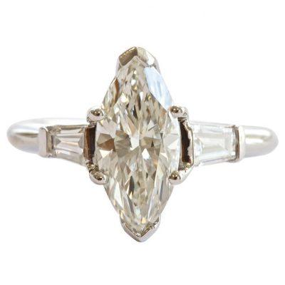 1.62 Carat Marquise Diamond Platinum Ring