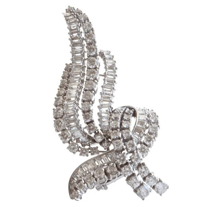 French Diamond Platinum Brooch