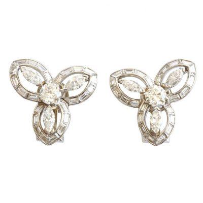 Trabert and Hoeffer Mauboussin Diamond Platinum Earrings