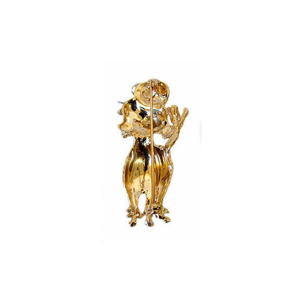 Vintage 14K Gold Poodle Pin with Ruby Eyes