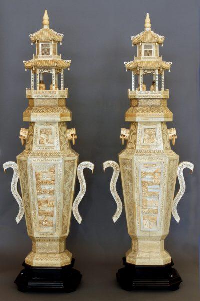 Pair of Ivory Pedestal Pagoda's.