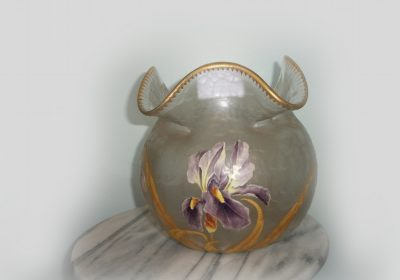 Mont Joy Acid Cut and Floral Enameled Iris Vase