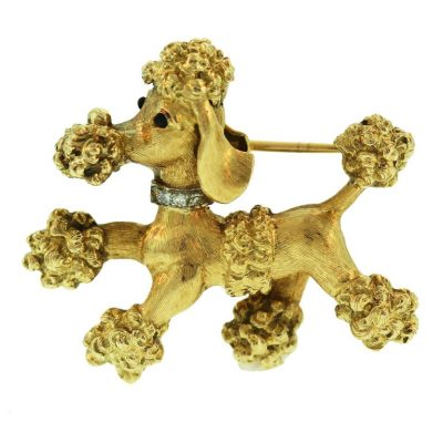 CARTIER Gold and Diamond Poodle Brooch